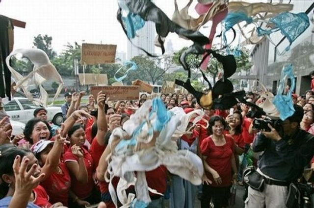Triumph International Philippines dismissed workers throwing bras in the air to demonstrate! (14 pics)
