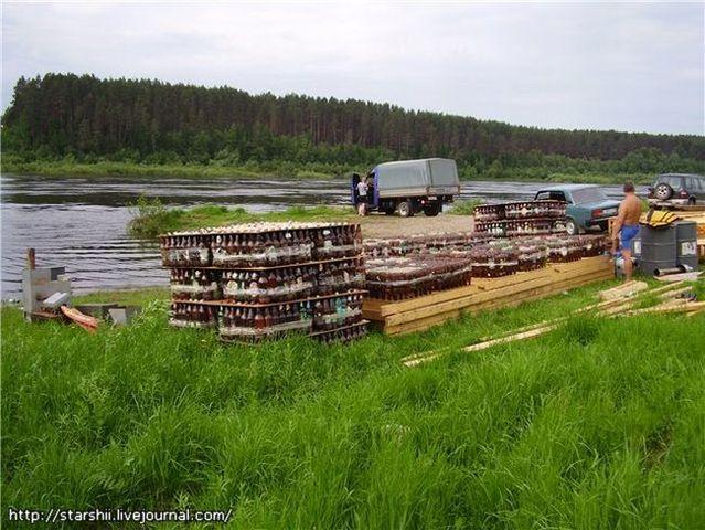 Raft of beer bottles (10 pics)