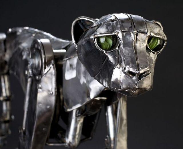 Mechanical cheetah in Steampunk style (6 photos + 1 gif)