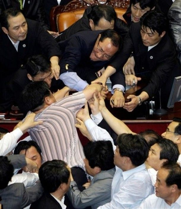 The fight in South Korean Parliament (20 pics+1 video)