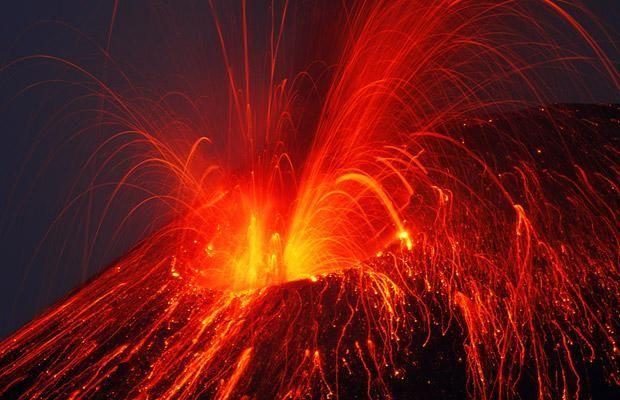 Very Beautiful Shots Of Awakening And Eruption Of A