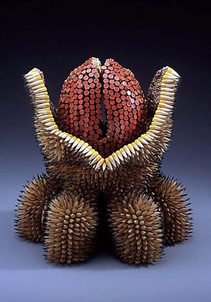 Pencil sea urchin sculptures by Jen Maestre (16 pics)