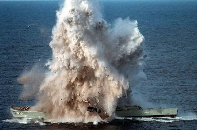 Direct hit by a torpedo (10 pics)
