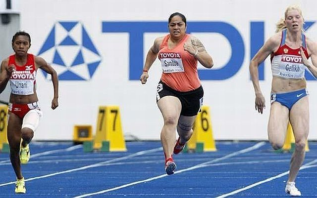 210 lb female Samoan shot-putter participated in World Championships 100m!! (11 pics)