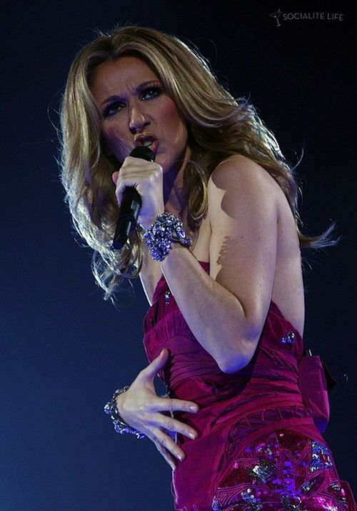 Celine Dion performing at a concert. She's pregnant (18 pics)