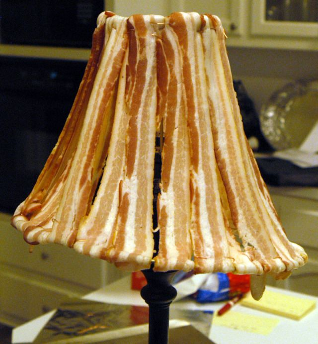 Unusual Lamp Shade Made with Bacon! (12 pics)