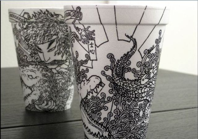 Amazing Sharpie Art on Styrofoam Cups (79 pics + 1 video)