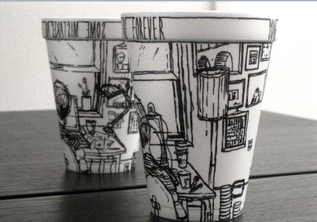 Amazing Sharpie Art on Styrofoam Cups (79 pics + 1 video)