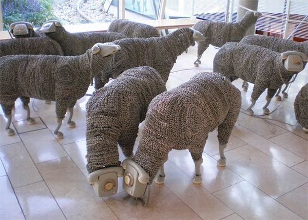 Rotary Telephone Sheep Sculptures (10 pics)