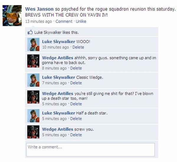 What if Star Wars Heroes Chatted on Facebook (5 pics)