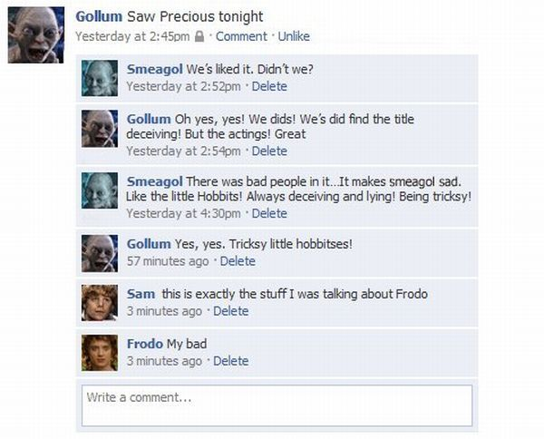 What If the Lord of the Rings Heroes Chatted on Facebook (5 pics)