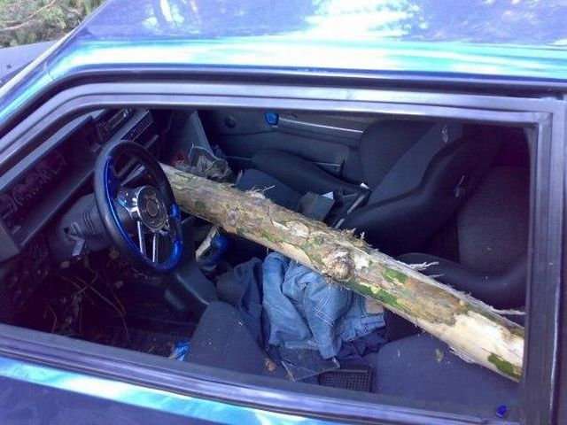 Audi R8 Was Pierced Through Like a Meat with a Fork (8 pics)