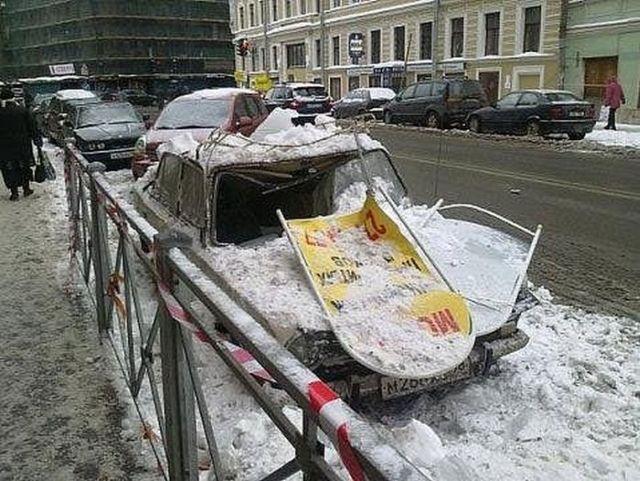 Alpinist Damaged Cars in Russia? (12 pics)