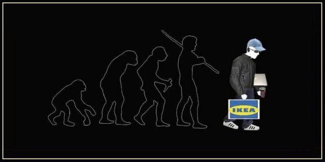 La evolución del hombre y sus herramientas termina montando muebles Ikea