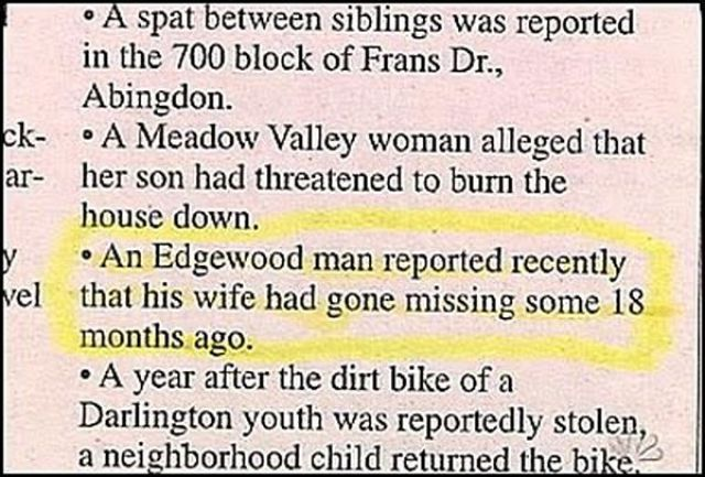 police blotter wife missing