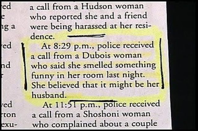 police blotter smelly husband