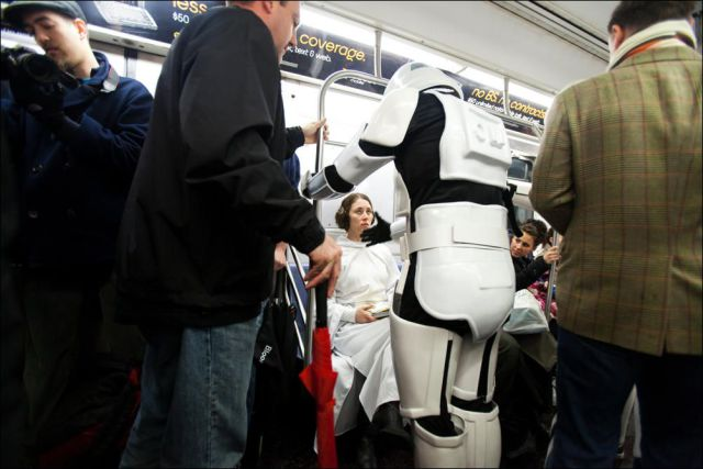 """Star Wars"" in the New York subway (38 pics)"
