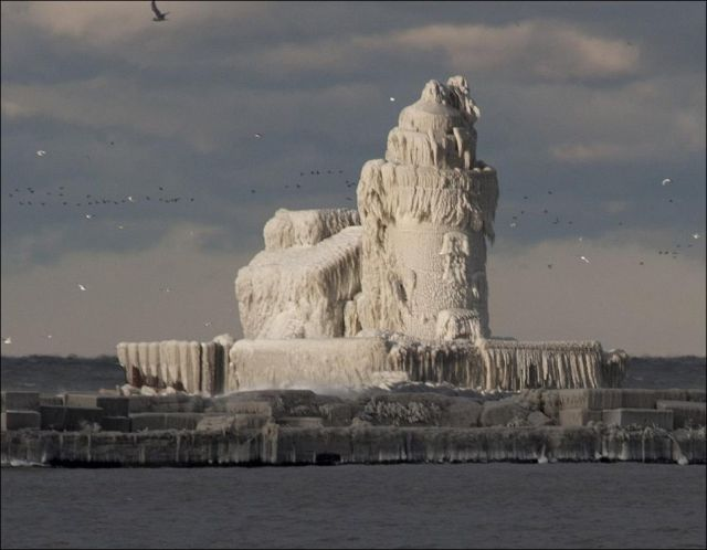 Lighthouse Completely Covered with Ice