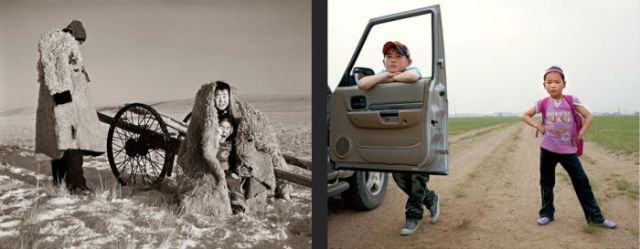 Mongolian Children Before and Today