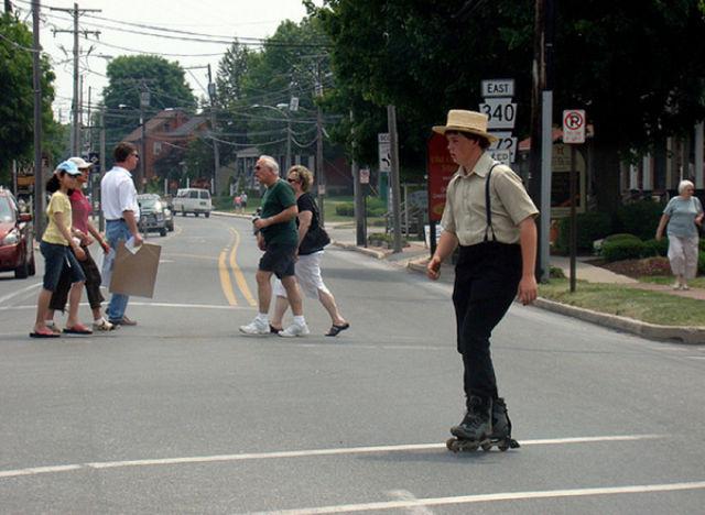 Rollerblading Amish People