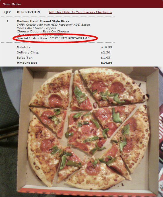 Funny Instructions by Pizza Fans