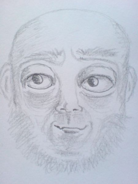 Bearded man - creepy drawing