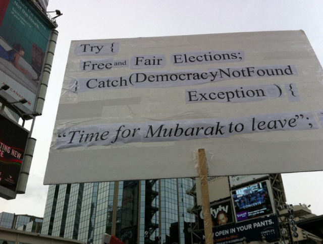 Protest Signs against Mubarak