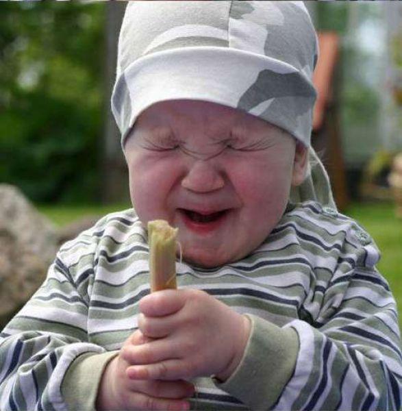 Babys Reaction to Rhubarb
