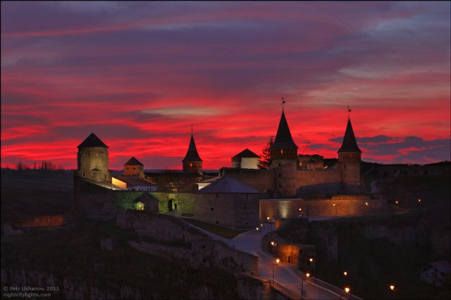 Dusk Sets Over Ukrainian Castle