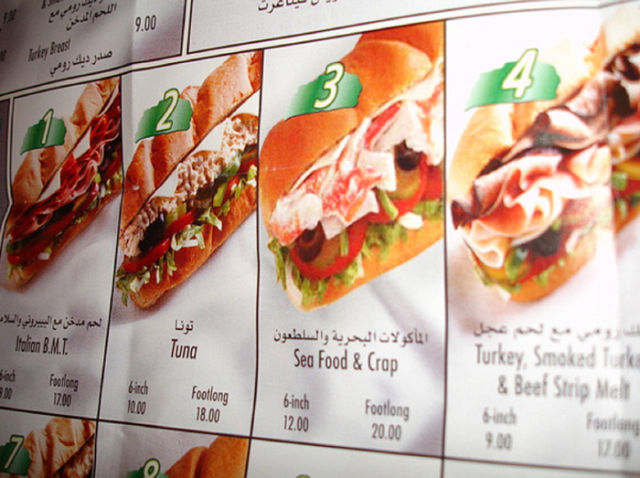 Menus from Subway Restaurants All Over the Wolrd