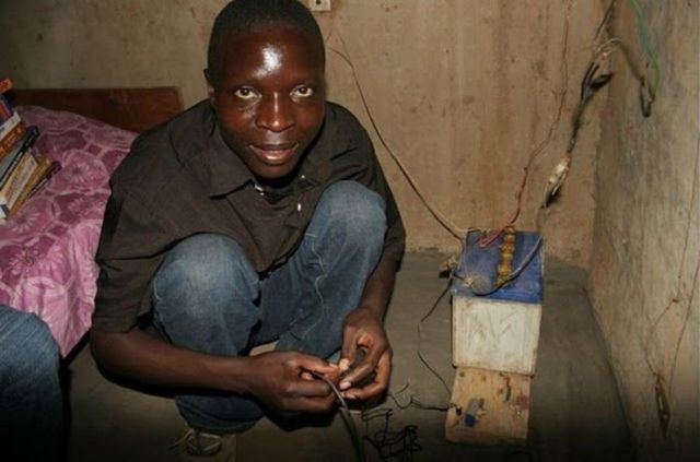 Young African Built Windmills from Garbage