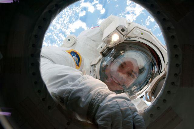 Gorgeous Blue Sky Under Foot During Spacewalk
