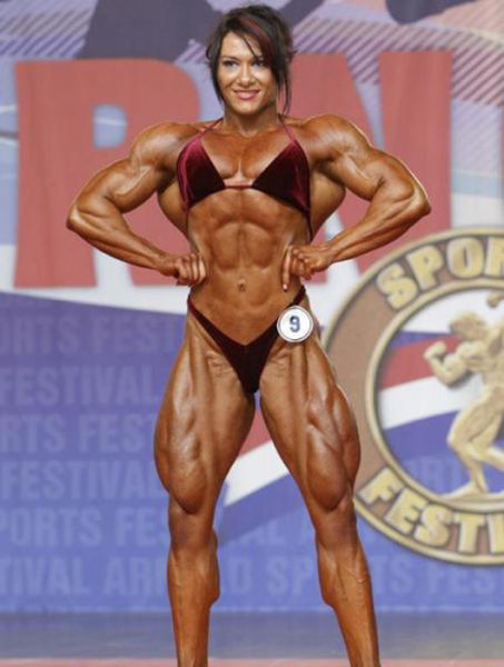 Eye-Bulging Ripped Female Bodybuilder