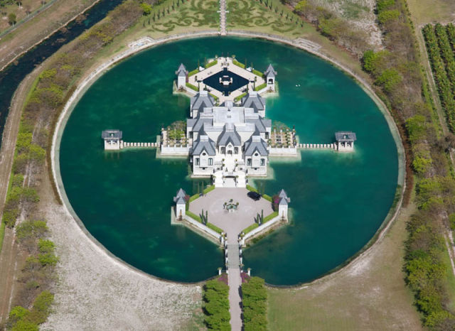 Fantastical Miami Castle Surrounded by Water