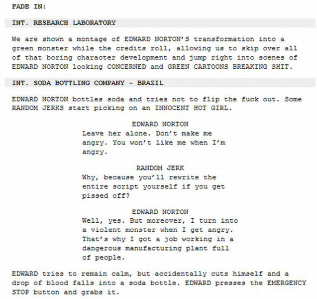 Funny Edited Movie Scripts
