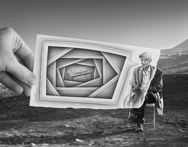 Pencil Drawings inside Photographs