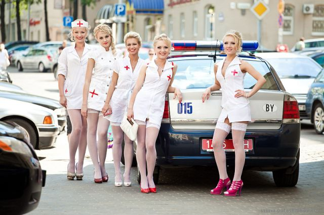 A Parade of Blonde Nurses