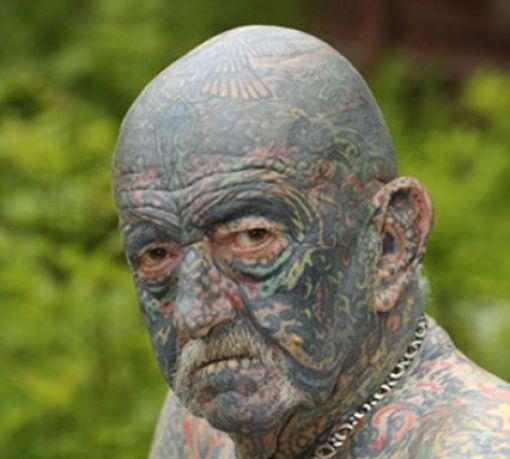 69 Face Tats: 69-Year-old UK Man Likes Tattoos (3 Pics)