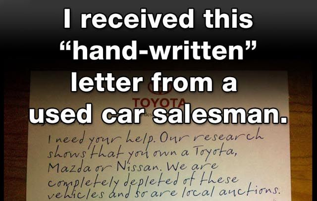 Ridiculous Hand Written Letter From Used Car Salesman