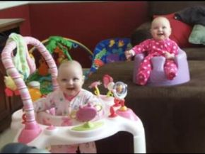 Synchronized Twin Baby Laughing