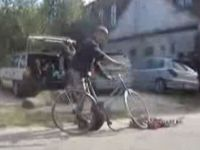Drunk Russian Guy Struggles to Ride His Bike
