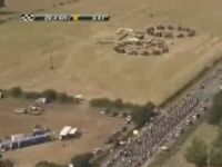 French Farmers Create Giant Bike during Tour de France