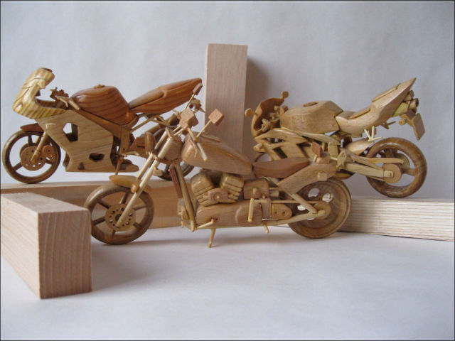 Amazing Wooden Miniature Motorcycles