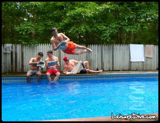 Funny Mid-Air Poses Above the Pool