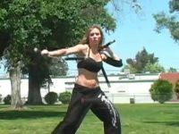 Hot Chick Knows How to Use Nunchucks