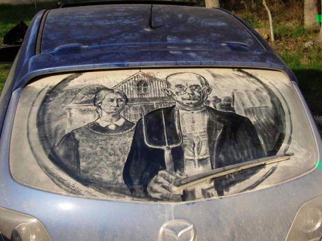 Talented Artist Creates Masterpieces on Dirty Car Windows