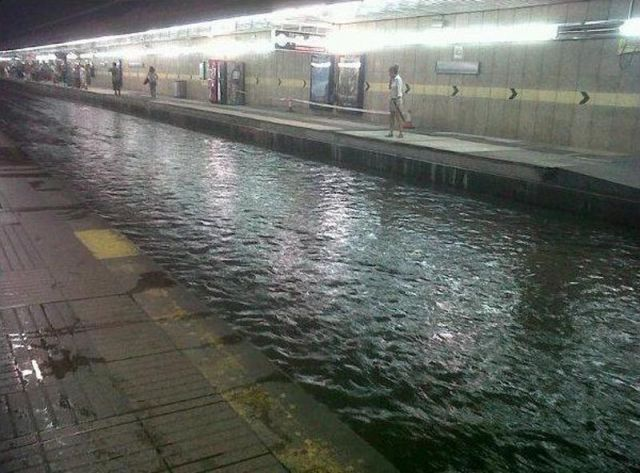 Flooded Barcelona Subway Station