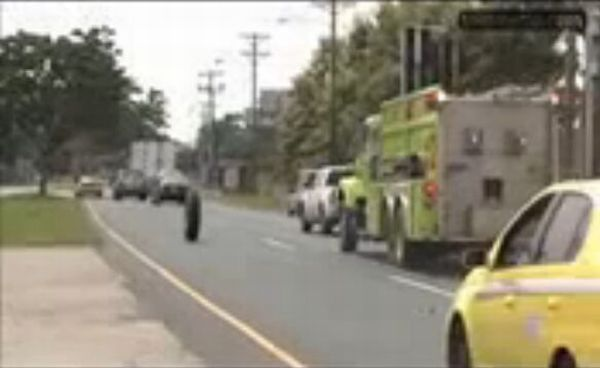 Fire Truck Causes Taxi Destruction [VIDEO]