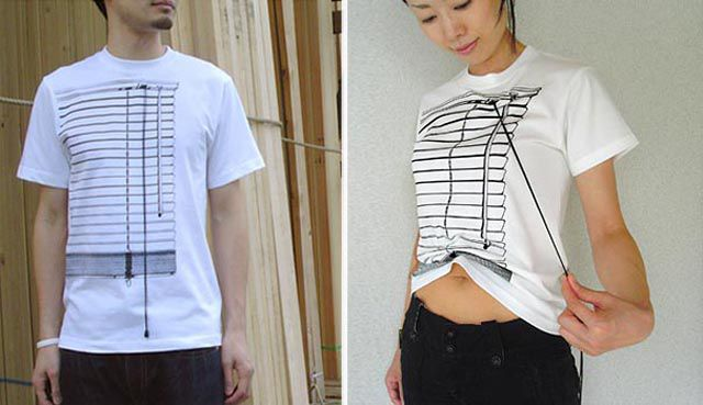 cool venetian blinds t shirt that reveals the midriff with the pull of