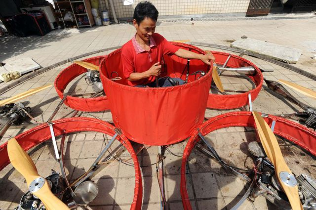 A Homemade Flying Machine Made by A Chinese Farmer